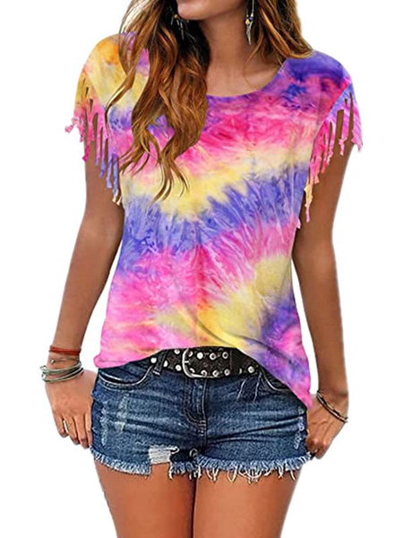 Milanoo Women Tees Orange Tie Dye Jewel Neck Fringe Polyester Casual Tee Shirt