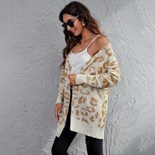 Drop Shoulder Leopard Cardigan