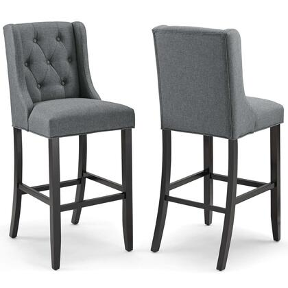 Baronet Collection EEI-4022-GRY Set of 2 Bar Stools with Dense Foam Padding  Footrest Support  Sinuous Spring Support  Solid Wood Legs and Polyester