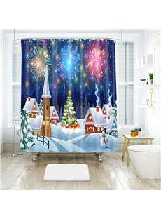 Celebrate Christmas with Fireworks Bathroom Shower Curtain