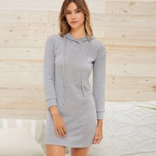 Drop Shoulder Rib-knit Drawstring Sweater Dress