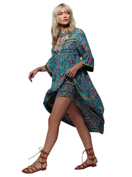 Milanoo Vestido largo Azul celeste claro con manga larga de rayon Vestidos con cordones con estampado de talla muy grande con escote ovalado estilo bo