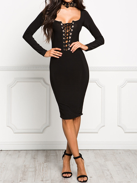 Yoins Black Lace-up Scoop Neck Long Sleeves Dress