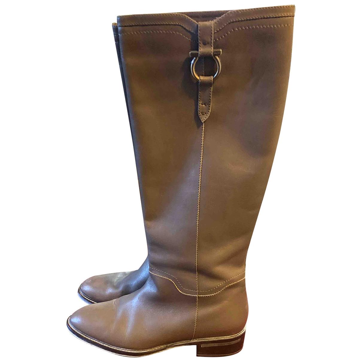 Salvatore Ferragamo \N Grey Leather Boots for Women 41 IT