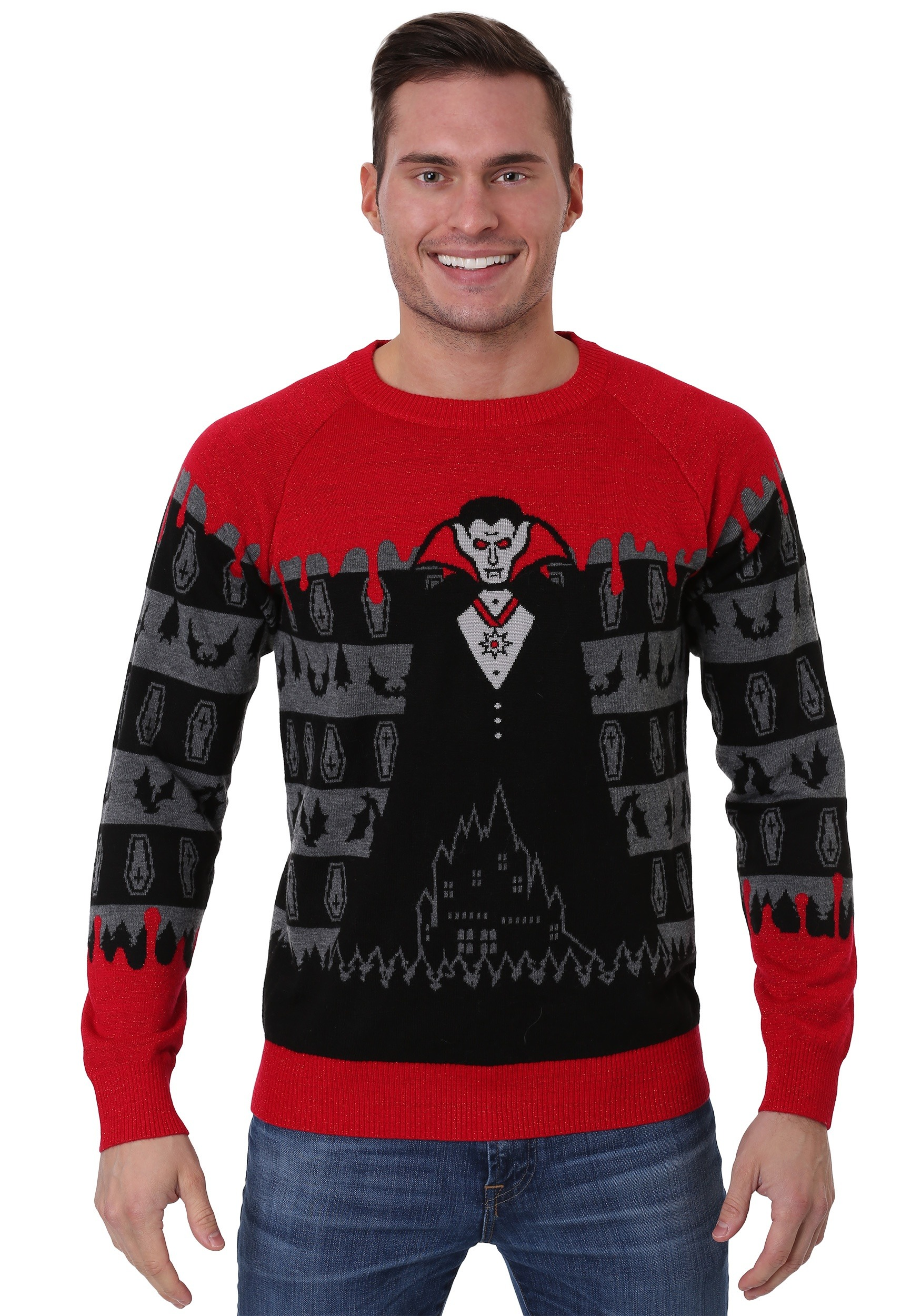 Dracula Vampire Halloween Sweater for Adults