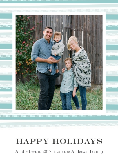 Holiday Photo Cards 5x7 Cards, Standard Cardstock 85lb, Card & Stationery -Blanket Border Happy Holidays