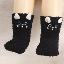 1 Paar Kleinkind Kinder Socken mit Karikatur Design