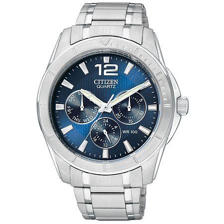 Citizen Quartz Mens Silver Tone Stainless Steel Bracelet Watch-Ag8300-52l, One Size , No Color Family