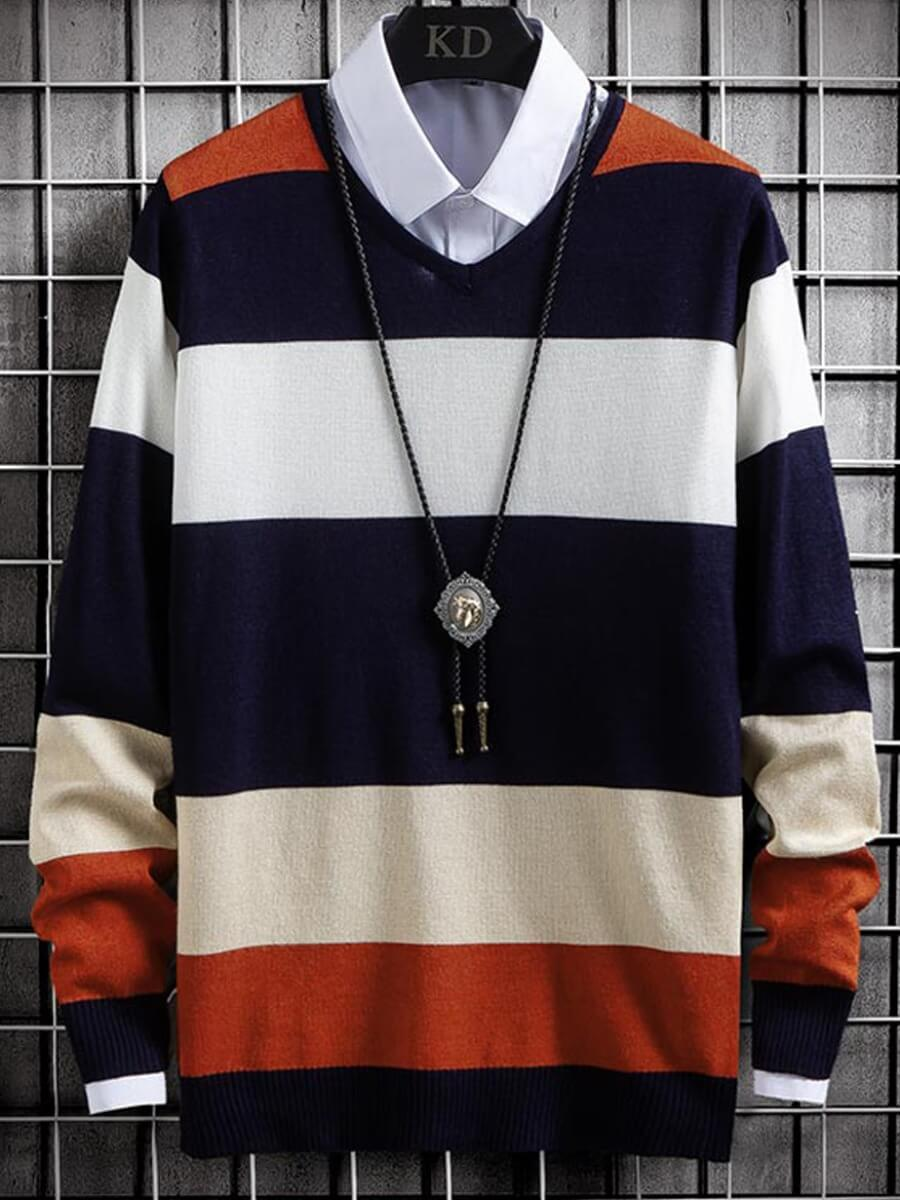 LW Lovely Casual O Neck Striped Multicolor Men Sweater