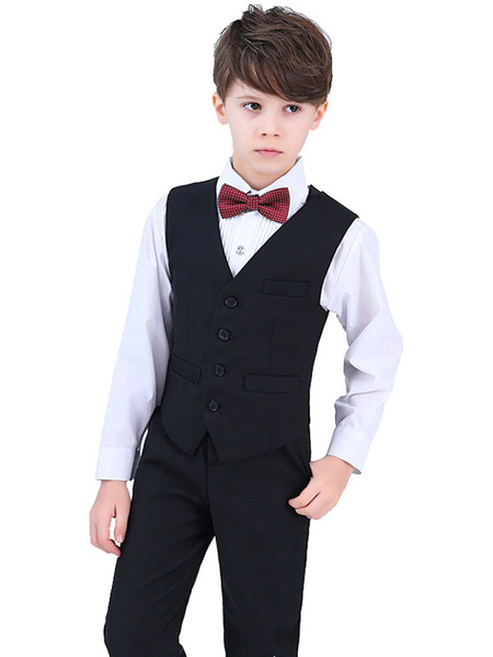 Milanoo Ring Bearer Suits Cotton Long Sleeves Cravat Waistcoat Pants Shirt Black Wedding Boy Suits 4pcs
