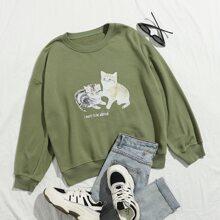 Sweatshirt mit Katze & Buchstaben Grafik