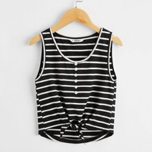 Girls Button Detail Knot Hem Striped Tank Top