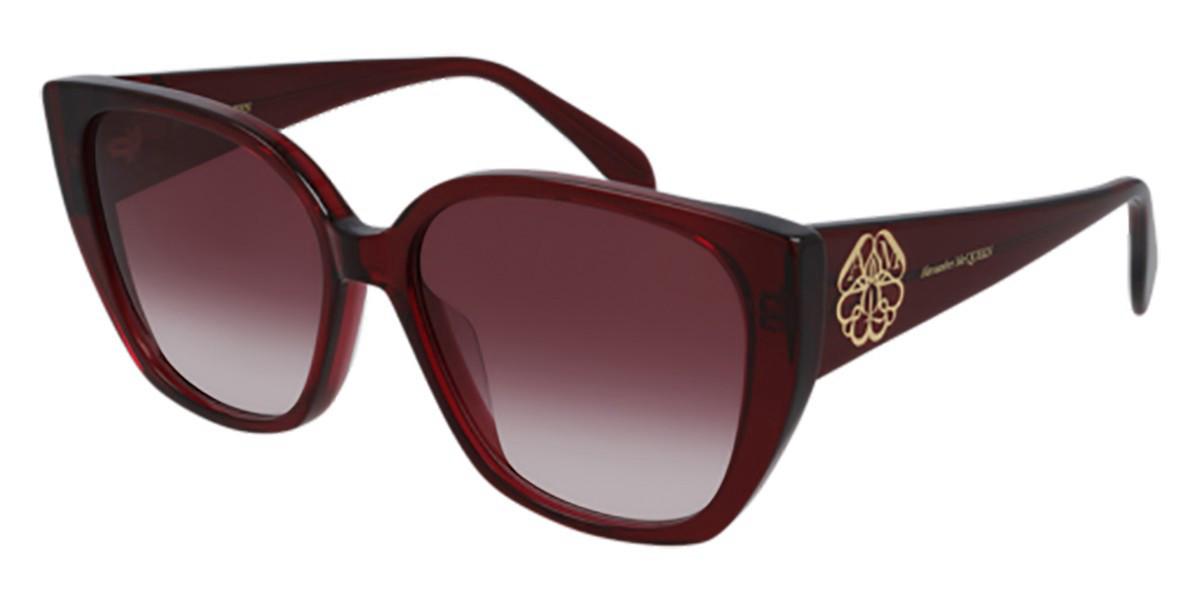 Alexander McQueen AM0284S 004 Women's Sunglasses Burgundy Size 58 - Free RX Lenses