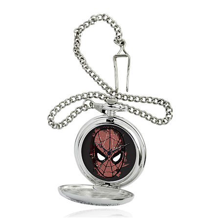 Marvel Spider-Man Mask Mens Silver-Tone Pocket Watch, One Size , No Color Family