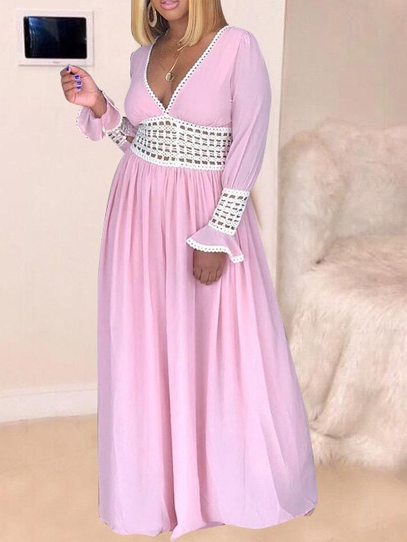 Ericdress V-Neck Backless Long Sleeve Hollow Color Block Maxi Dress