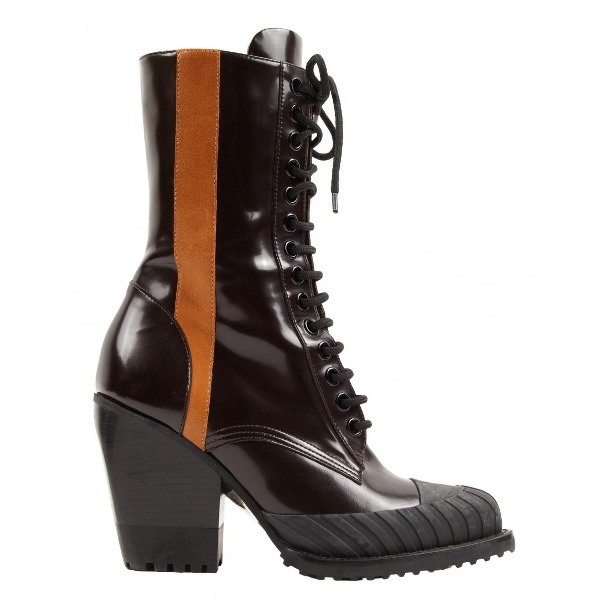 Chloe - Boots   pour femme en cuir verni - marron