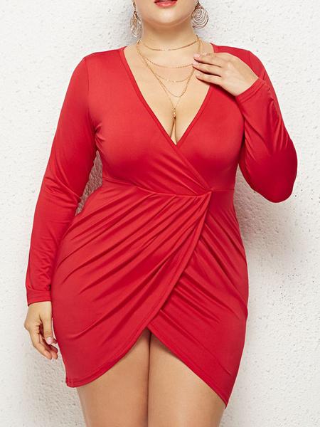 Milanoo Plus Size Maxi Dresses Women Large Size Solid Casual Sexy Deep V Neck Bag Hip Fat Mini Dress