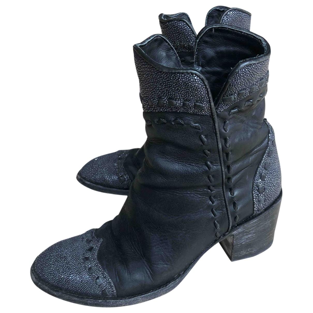 Mexicana - Boots   pour femme en galuchat - noir