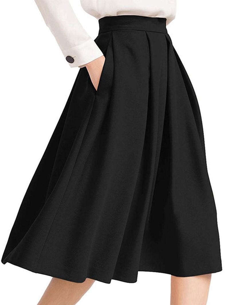 Ericdress Plain Pleated Women's Skirt