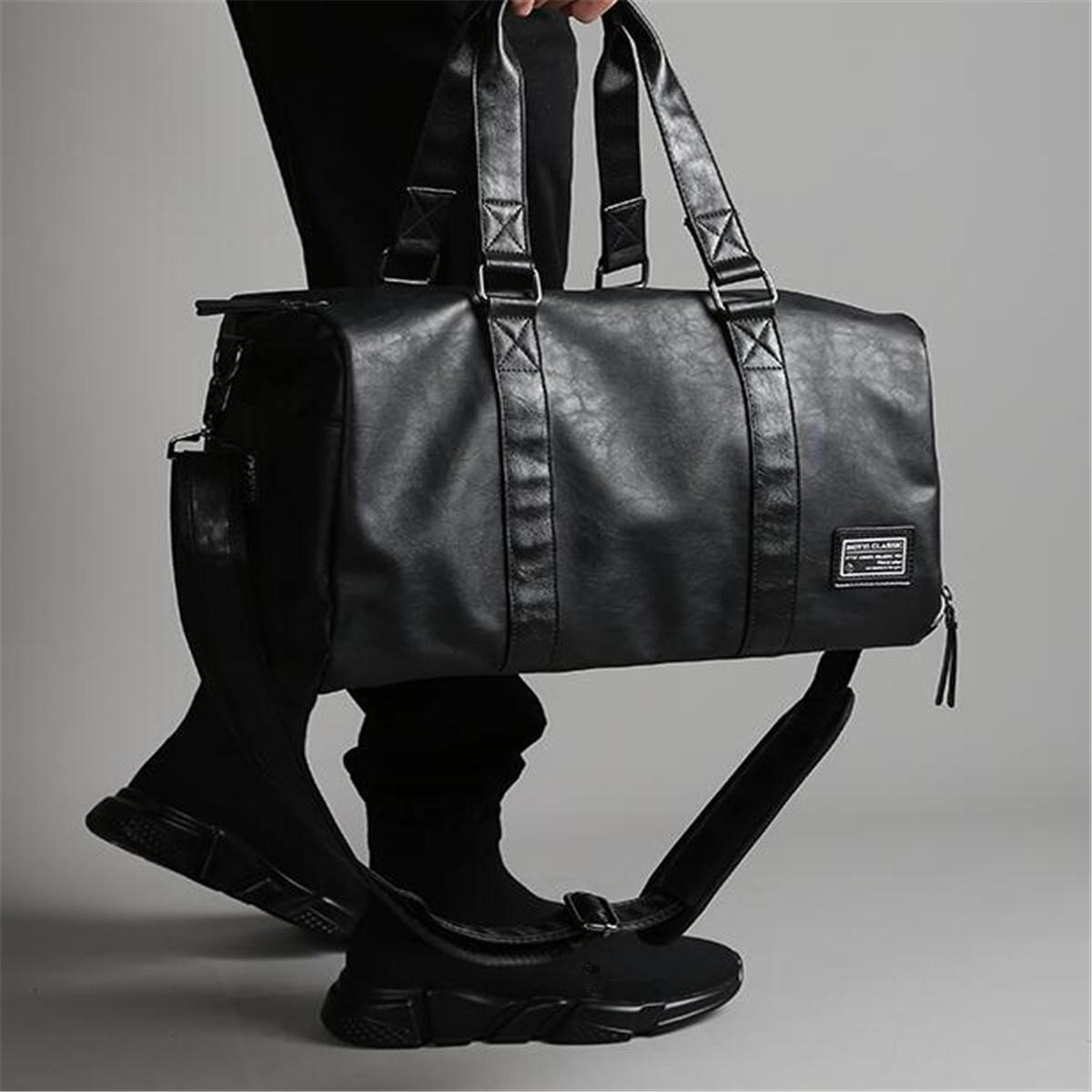 Men Black Leather Large Capacity Duffle Travel Bag