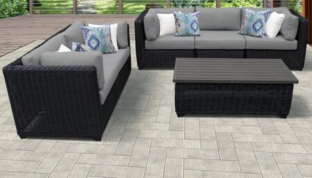 Venice Collection VENICE-06f-GREY 6-Piece Patio Set 06f with 4 Corner Chair   1 Armless Chair   1 Coffee Table - Wheat and Grey