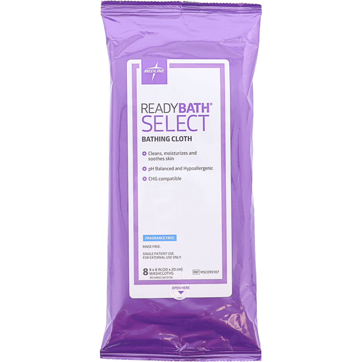 Medline ReadyBath Select Body Cleansing Wipes, Fragrance Free, 240 Wipes - 240