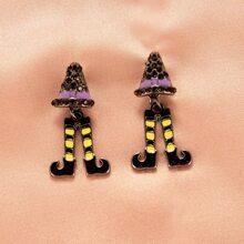 Halloween Rhinestone Decor Drop Earrings
