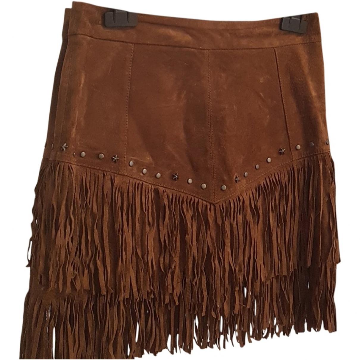 Zara - Jupe   pour femme en cuir - marron
