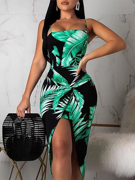YOINS Green Tropical Backless Twist Sleeveless Strap Dress