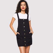 Pocket Front Button Front Pinafore Denim Dress