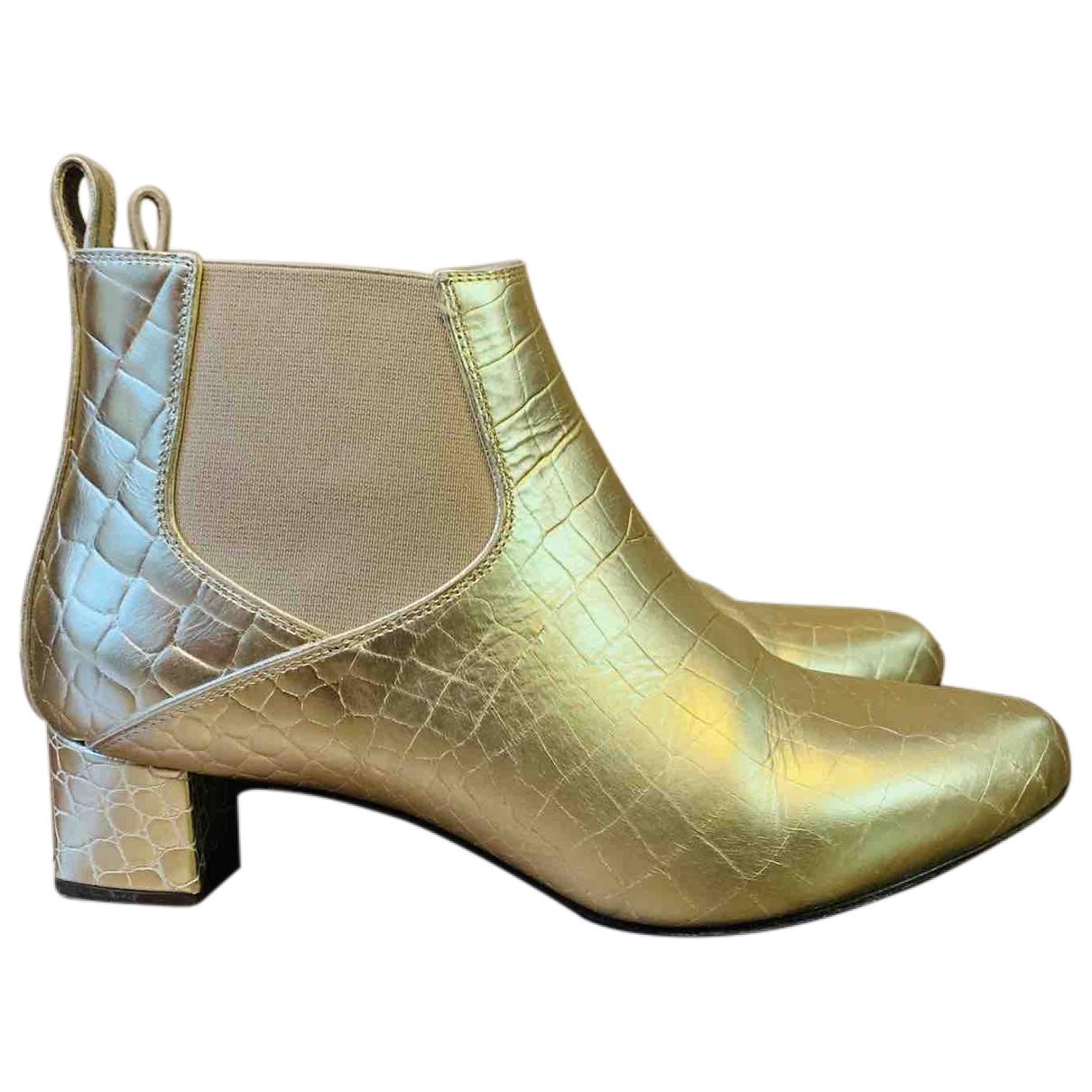 Max Mara - Boots   pour femme en cuir - dore