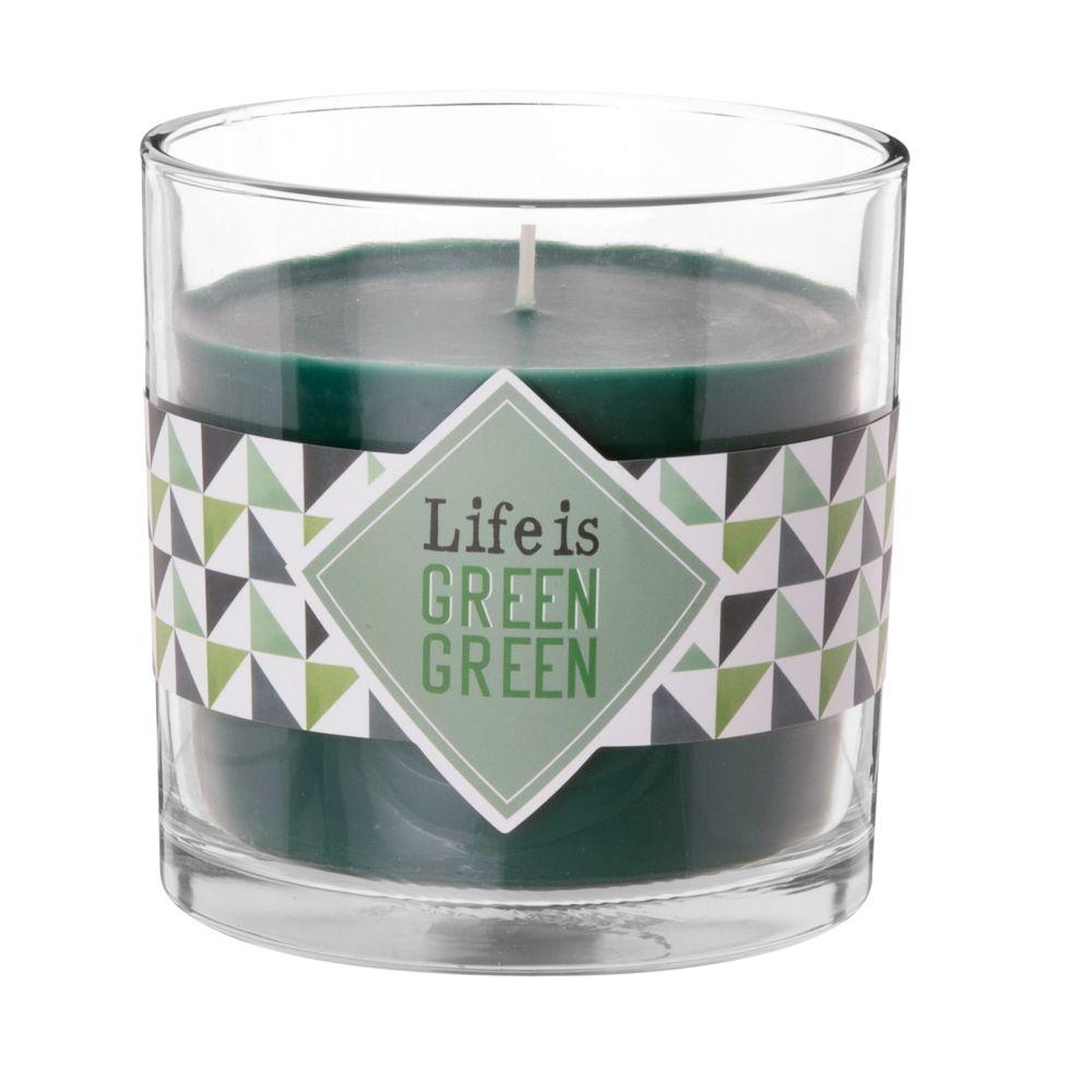 Duftkerze, gruen, in gemustertem Glas