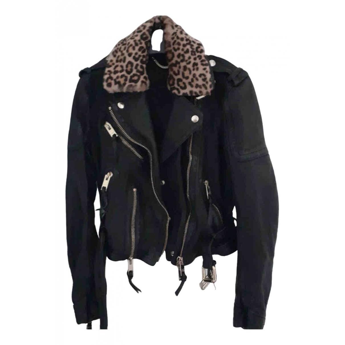 Burberry - Blouson   pour femme en cuir - noir
