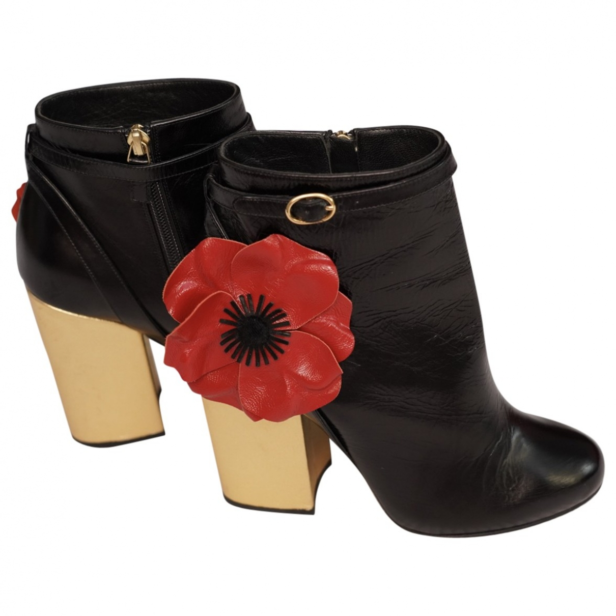 Laurence Dacade \N Black Leather Ankle boots for Women 37.5 EU