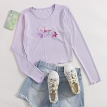 Letter Flower Embroidery Crop Tee