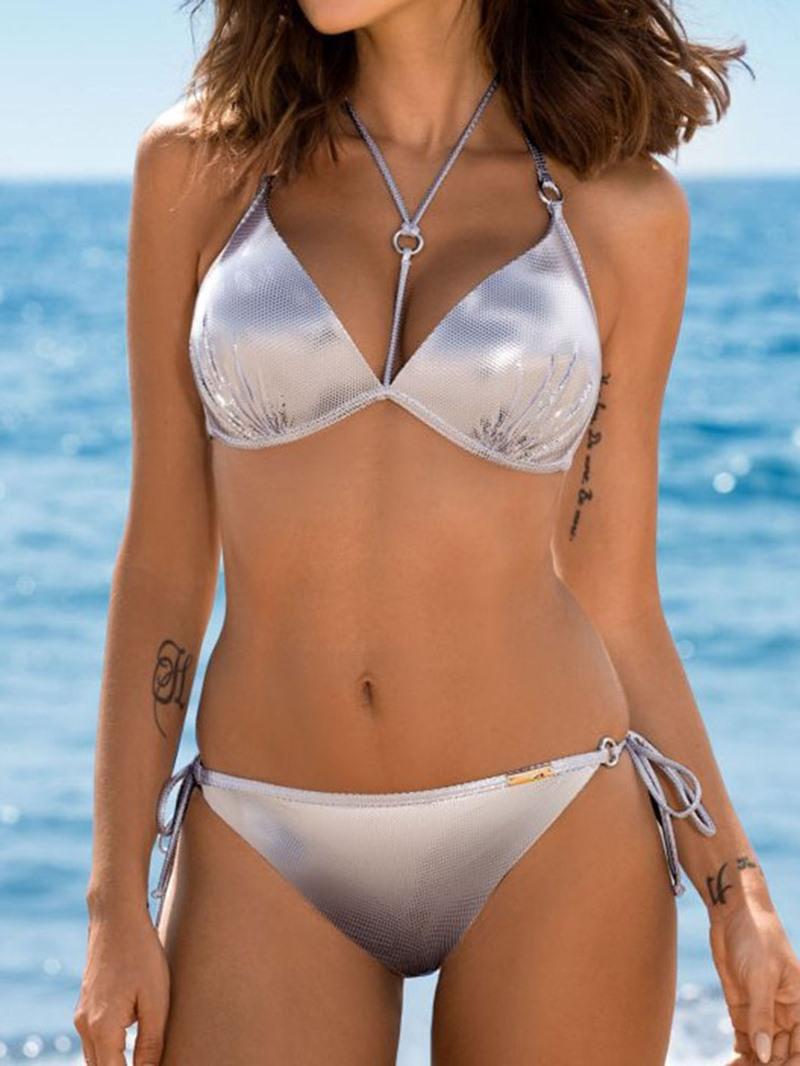 Ericdress Tankini Set Leopard Lace-Up Swimwear