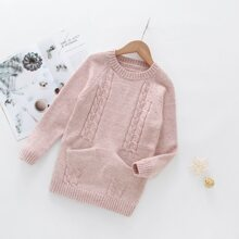 Girl Cable Knit Raglan Sleeve Sweater