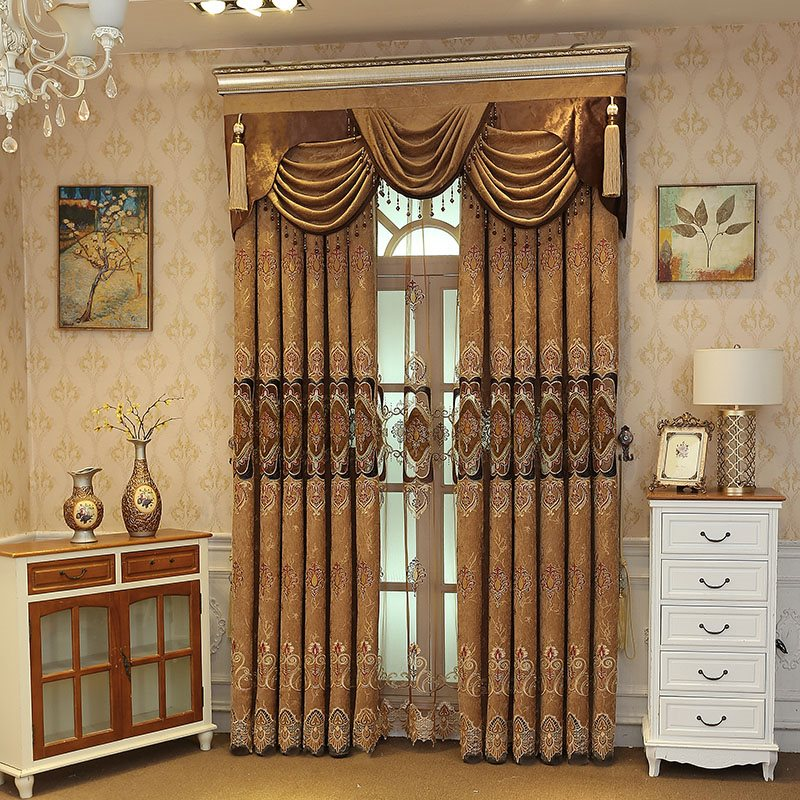 Luxury Coffee color Embroidered Floral Royal Style 2 Panels Custom Curtains