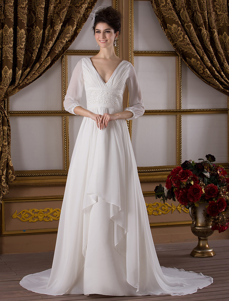 Milanoo Classic Sweep Ivory A-line V-Neck Ruched Taffeta Bridal Wedding Gown