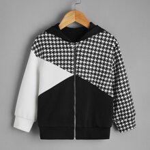 Mantel mit Cut And Sew Design, Hahnentritt Muster und Kapuze