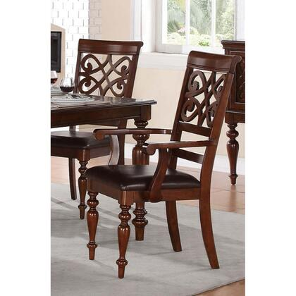 BM174347 Wooden Arm Chair With Leatherette Seat And Designer Open Work Back  Cherry Brown  Set of