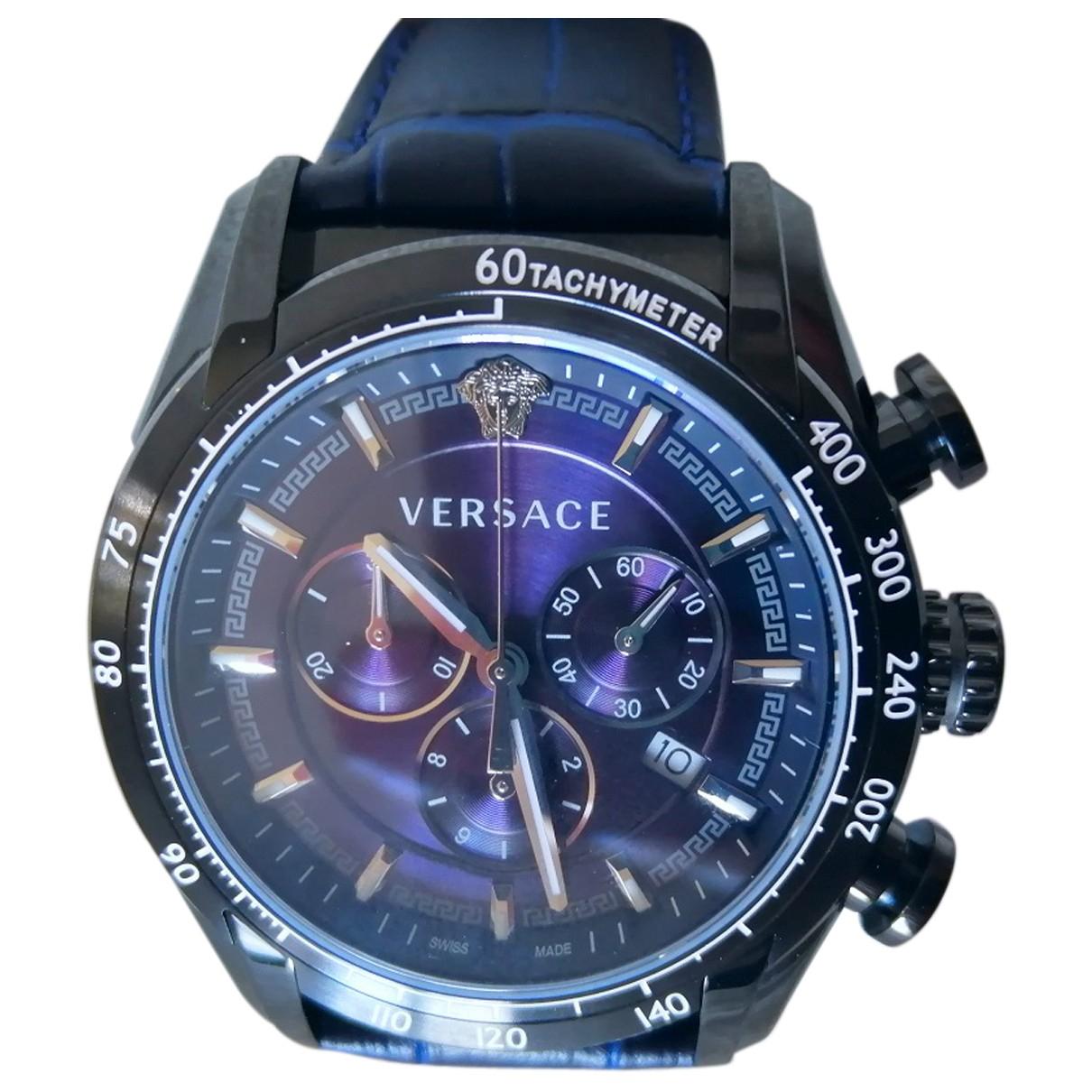 Versace - Montre   pour homme en acier - bleu