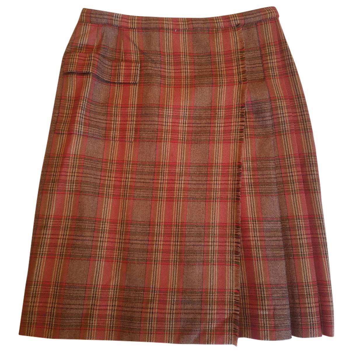 Non Signé / Unsigned \N Burgundy Wool skirt for Women 40 FR