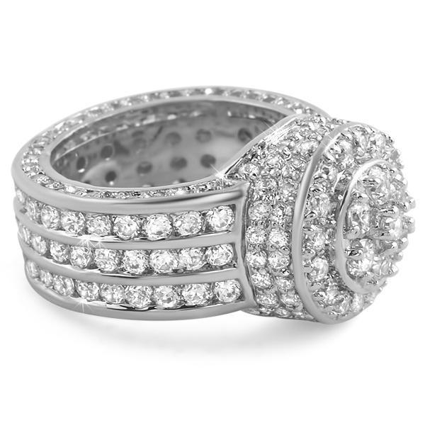 .925 Silver Custom Cluster CZ Bling Ring