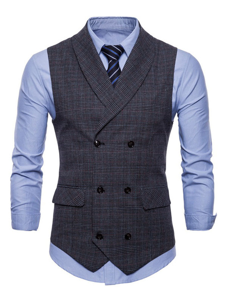 Milanoo Men Casual Waistcoat Shawl Collar Plaid Double Breasted 1950s Cotton Suit Gilet