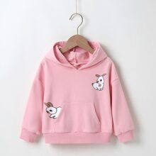 Toddler Girls Rabbit Print Drop Shoulder Hoodie