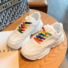 Ombre Strap Lace-up Chunky Sneakers