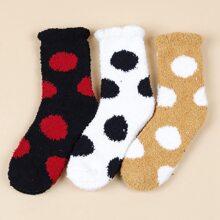 3pairs Polka Dot Pattern Fuzzy Socks