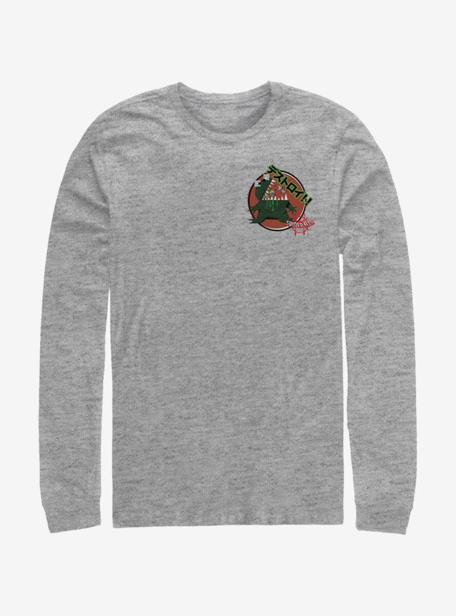 Marvel Spider-Man Godzilla Sticker Pocket Long-Sleeve T-Shirt