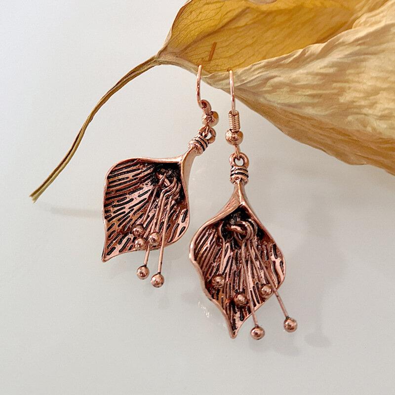 Bohemian Flower Leaf Women Earrings Vintage Petal Stamen Pendant Earrings